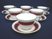 6 SETS CUPS & SAUCERS BELVOIR RED MARBLED ROYAL WORCESTER FINE BONE CHINA GOLD