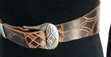 BELT S/M Genuine Leather Wide tooled silver western buckle boho cincher hippy