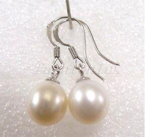 Women 925 Solid Silver Dangle 8mm Genuine White Black Pearl Drop Hook Earrings