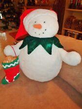 "Snowman holding gingerbread man stocking Hallmark Jingles Christmas 11"" Plush St"