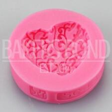 Floral Textured Love Heart Romantic Cake Topper Fondant Silicone Mould Bake