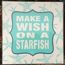 "MAKE A WISH ON A STARFISH Seaside Beach House Decor 7"" Square Wood Box Wall Art"