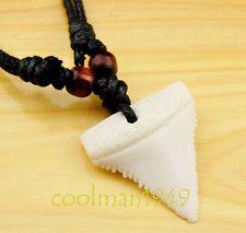 Cool imitation shark teeth pendant necklace rope RH107