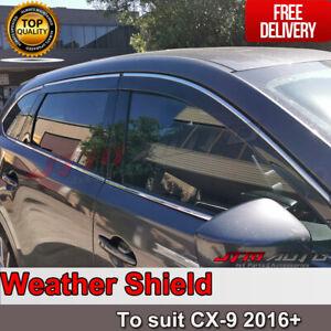 INJ Chrome Weather Shield Weathershield Window Visor for Mazda CX9 2016+