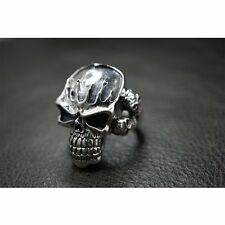 925 Sterling Silver Fire Flame V Twin Skull Ring for Harley Davidson Biker SR34