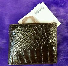 Genuine Alligator Wallets Crocodile Belly Skin Leather Bifold Men's Brown Purses