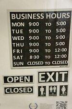 Nib 7 Essential Business Signs Bundle Hours Open Closed Restrooms Exit 14x14 kit