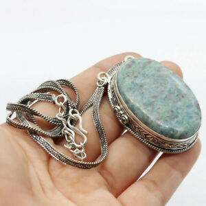 """Ruby Fuchsite 925 Silver Plated Handmade Gemstone Necklace of  19"""" Ethnic Gift"""