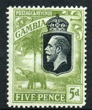 GAMBIA Stamps 1922  SG 130  5d Sage-Green Wmk MSCA  Mounted Mint