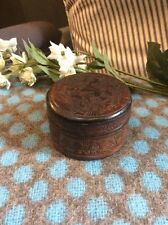 Aesthetic Movement Arts And Crafts Japonic Leather Pill Jewellery Box Embossed