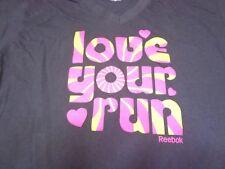 LOVE YOUR RUN Reebok Grey Womens Ladies Small  T-Shirt M3