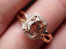 NEW 1ct Morganite & Diamond Emerald Cushion-Cut Halo Ring- 10K Rose Gold Size 7