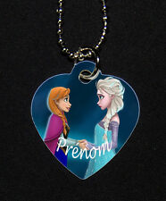 Collier pendentif coeur Reine des neiges prenom personnalise (modele 1)