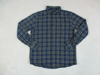 Uniqlo Button Up Shirt Adult Large Blue Yellow Plaid Long Sleeve Casual Mens