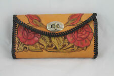Vintage Hand Tooled Leather Clutch Wallet - Hand Tooled Roses