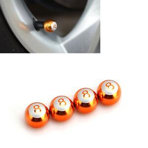 8-Ball Aluminium Gold Ball Tire Wheel Air Valve Stem Cap 4pcs For Honda ALS