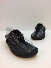 Fitflop Black Suede Studded Thongs Sandals Women's Size 8