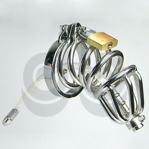 Stainless Steel Male Chastity Cage Device with Silicone Insert Tube - metal CBT