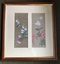 Vintage Oriental Framed Painting On Silk