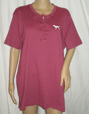 Victoria's Secret PINK Lace Up Campus Tshirt Maroon W/ Dog & Rear Graphics L NWT
