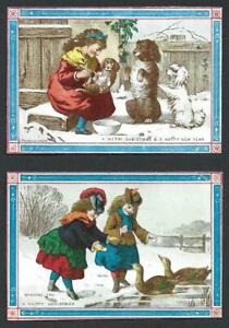 Y21 - GIRLS FEEDING DOGS AND DUCKS - MANSELL - MATCHED PAIR VICTORIAN XMAS CARDS