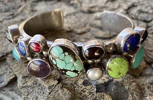 Sterling Gemstone Nakai Cuff Navajo Bracelet
