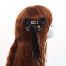 Women's  Steampunk Gear Hair Clip Punk Gothic Headwear Vintage Bowknot Black