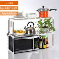 2 Layers Stainless Steel Microwave Oven Rack Kitchen Storage Shelf Container