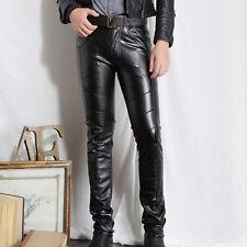 Men Motorcycle Pants Riding Biker Trousers Slim Fit Faux Leather Pants No Belt