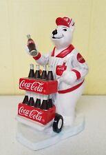 Vintage Coca-Cola Polar Bear Delivering Cases of Soda Bank 1996