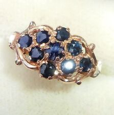 Antique Style 9ct Rose Gold Sapphire Daisy Cluster Ring, Size L1/2
