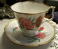 Vintage Pink Carnations Floral Design Footed Tea Cup Saucer Royal Imperial