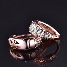 18K Rose Gold Filled Clear Topaz Crystal Fashion Gold Hoop Earrings For Women