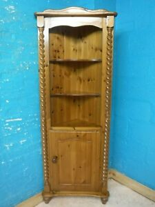 BARLEY TWIST SOLID WOOD CORNER DISPLAY CABINET BOOKCASE 189cm tall -SEE OUR SHOP