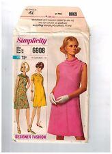 Vintage Simplicity 6908 Sewing Pattern 60's Bust 34 Aline DressUncutFF