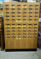 Wooden vintage 60 drawer university library card catalog cabinet Dewey decimal