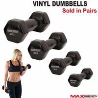 Vinyl Dumbbells Aerobic Fitness Weight Training Set Exercise Dumbells Black Pair