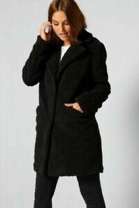 New Womens Studio Longline Teddy Jacket Coat Black Sz 24 (L1)