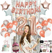 21st Party Supplies by Serene Selection, Rose Gold Birthday Decorations for Girl