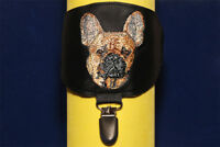 French Bulldog fawn arm band ring number holder with clip. For dog shows.