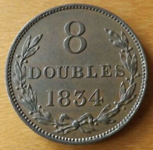 Guernsey British 8 Doubles Coin 1834 Almost UNC Grade Lustre Very Scarce.....