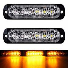 2x12/24V AMBER RECOVERY STROBE 6 CREE LED LIGHTS BREAKDOWN FLASHING ORANGE GRILL