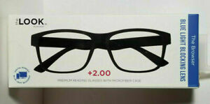 New The Look Browser Solid Black Reading Glasses Blue Light Blocking Lens +2.00