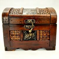 Small Trunk Shaped Carved Wooden Box Exotic Chest w/ Latticed Panels
