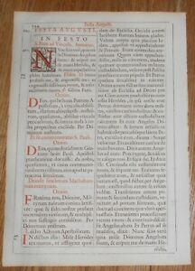 1651 Antique Missal Leaf - Page with Woodcut Initial N of St Nicholas & Demon
