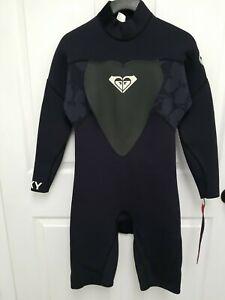 NEW Roxy Syncro 2/2mm Black Wetsuit springsuit Long sleeve Back zip Size 10/38
