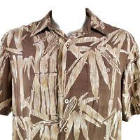 Tori Richard Bamboo Floral Silk Medium Hawaiian Aloha Shirt