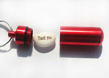 Magic Message Beans THANK YOU in RED Capsule/Keyring/Cash Stash Party Fun Gift