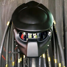 2018 New Predator Helmet Motorcycle Open Face Matt Black Red Lamp Custom