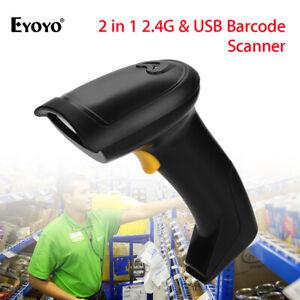 Eyoyo 2 in 1 Barcode Laser Scanner 800mA Akku für Computer Windows POS Linux